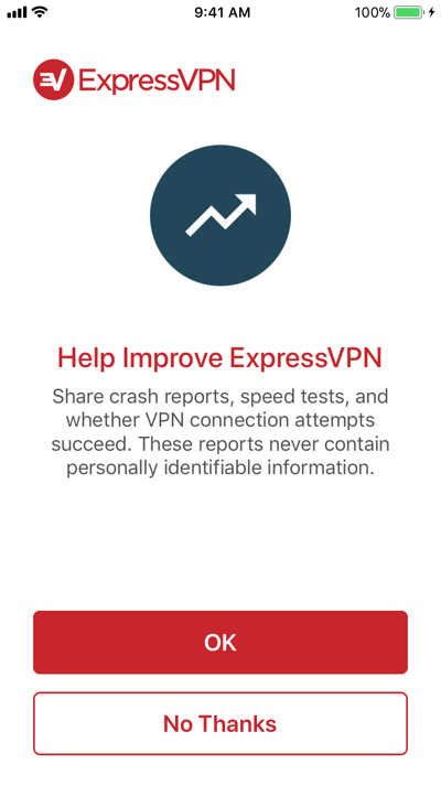 Choose whether to send crash reports and analytics to ExpressVPN.