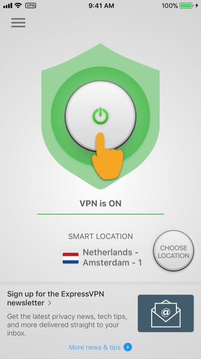 Tap to disconnect ExpressVPN on iOS.