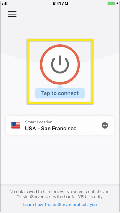 Tap to connect to the VPN.