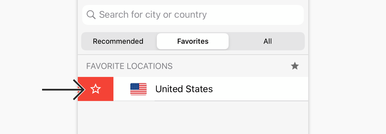 Swipe right on a location to remove it from Favorites.