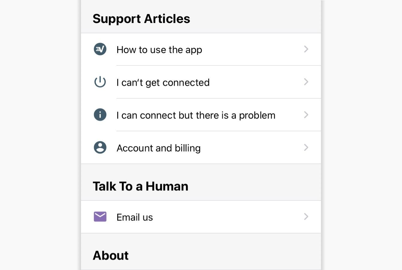 Tap a category to select an in-app support article.
