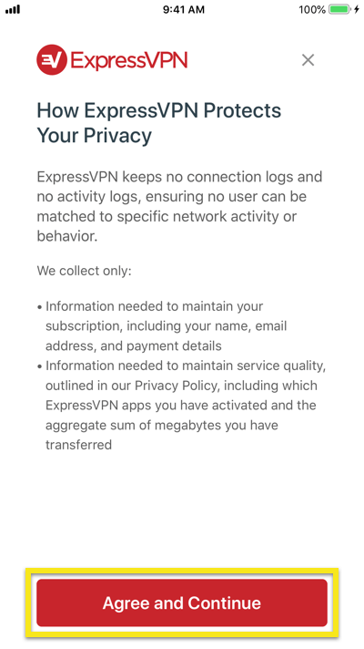 Privacy statement for the ExpressVPN iOS app.