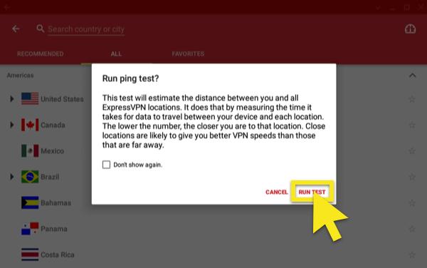 click on run test