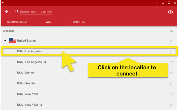 click to connect to a location