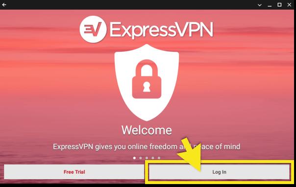click log in in the expressvpn app