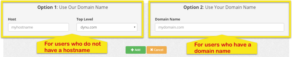 Dynu DDNS page showing Option 1 (for users who don't have a hostname) and Option 2 (for users who do).