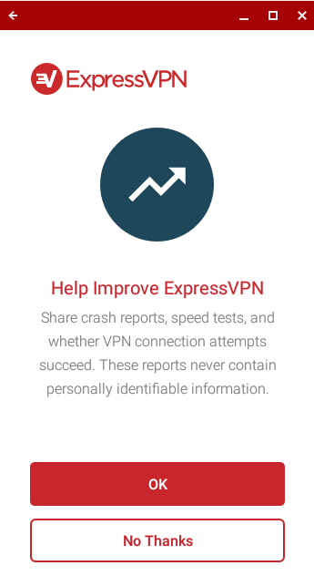 Choose whether to share analytics to ExpressVPN.
