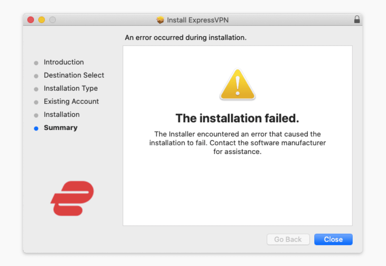 """The installation failed"""" error appears when you are trying to install the ExpressVPN app."""