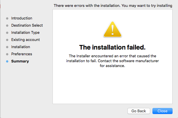mac installation failed