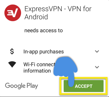 Play Store screen with Accept button highlighted.