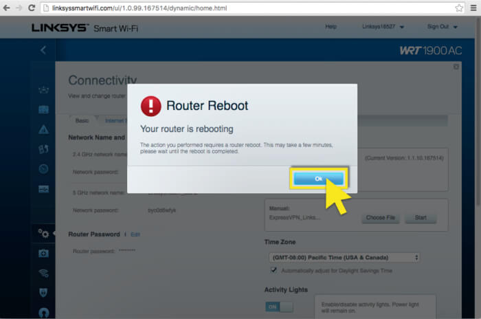 Click ok to reboot the router
