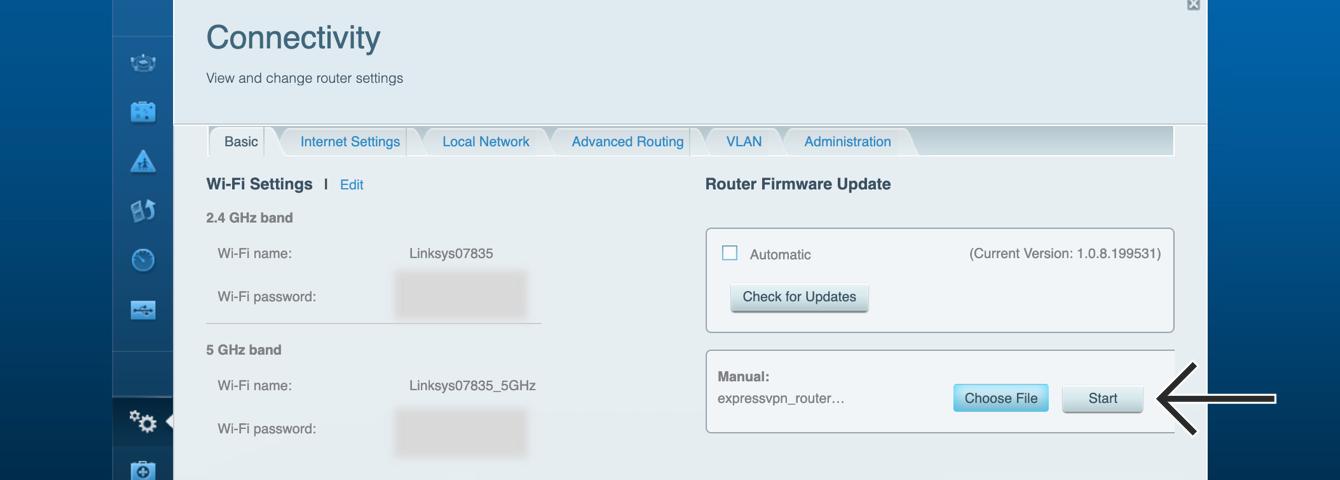 "Click ""Start"" to upload the ExpressVPN firmware."