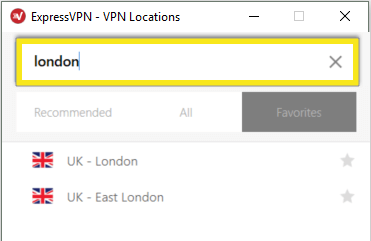 ExpressVPN Locations menu with search field highlighted.