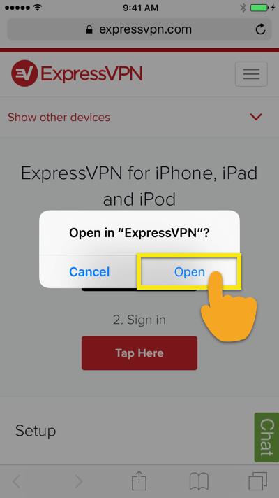 open expressvpn ios