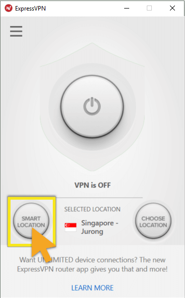 ExpressVPN home screen with Smart Location button highlighted.