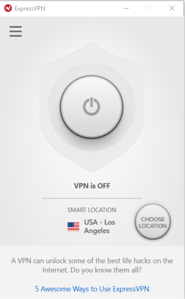 ExpressVPN home screen showing VPN is OFF.