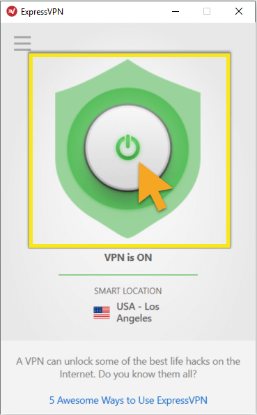 ExpressVPN home screen with ON Button highlighted.