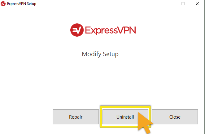 ExpressVPN Setup wizard with Uninstall button highlighted.