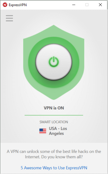 ExpressVPN home screen showing VPN is ON.