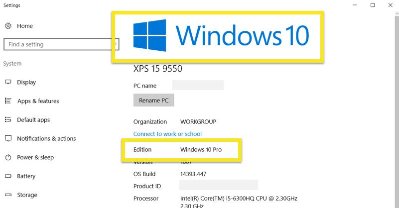 windows 10 edition info