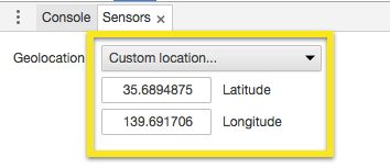 "The Sensors dropdown in Chrome Developer Tools, highlighting ""Custom location..."""