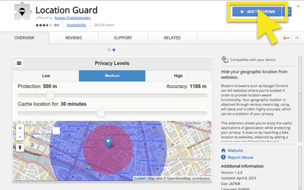 "Location Guard in the Chrome Web Store, with ""Add to Chrome"" button highlighted"