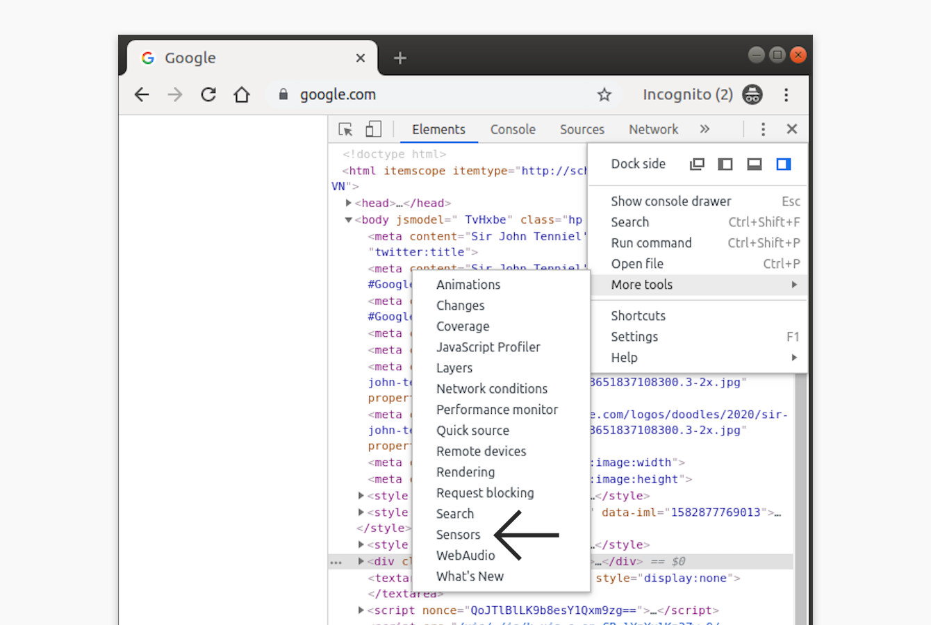 "Select ""Sensors"" in Chrome DevTools."