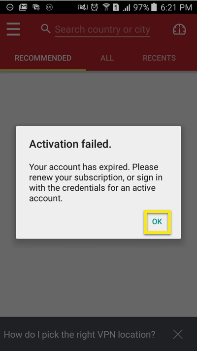 activation failed click ok