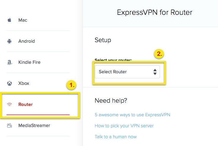 select router on setup page