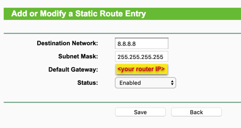 Add or modify a static route entry,