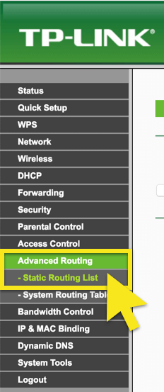 "Click ""Static Routing List"" on the dashboard."