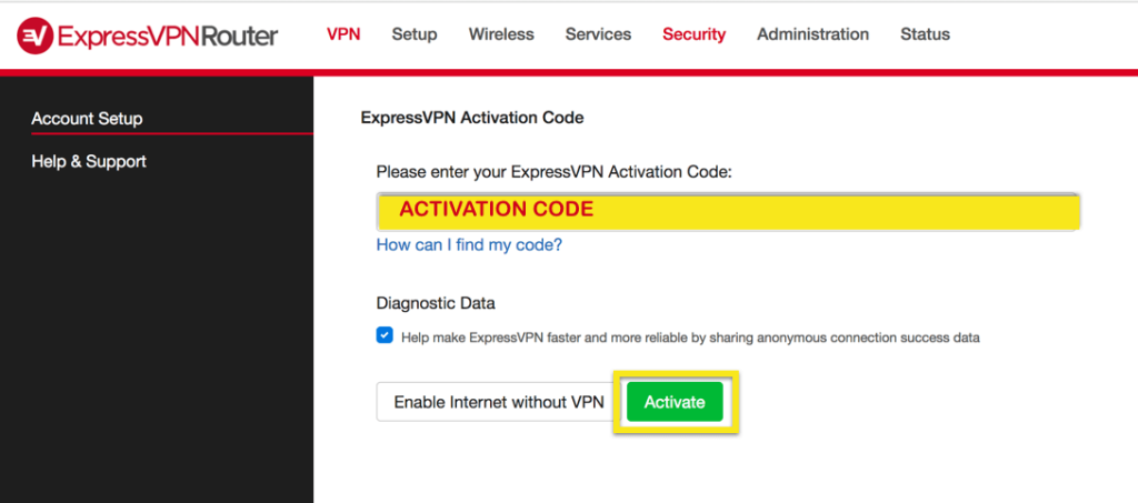ExpressVPN Router page showing activation code field, with Activate button highlighted.