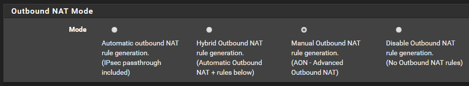 choose outbound nat mode