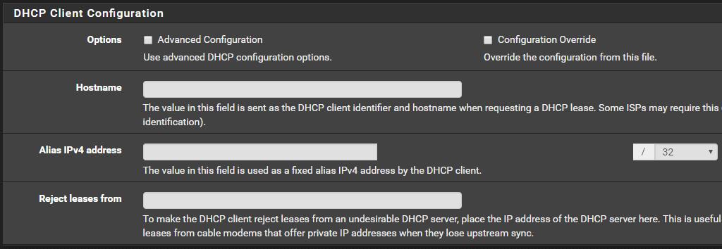 default dhcp client configuration