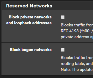 default reserved networks