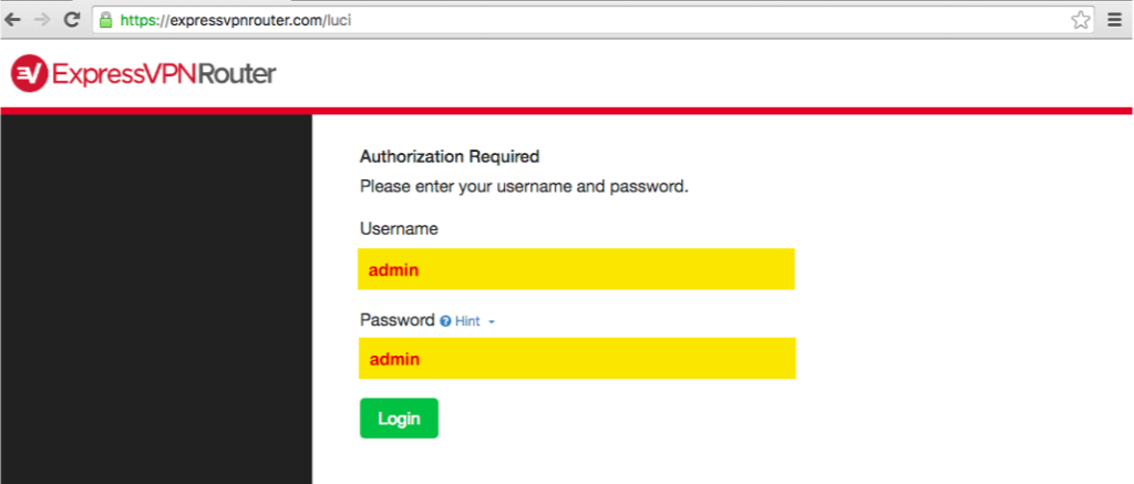 ExpressVPN router page showing Username and Password fields.