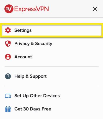 Klik op 'Instellingen' in de ExpressVPN browser extensie.