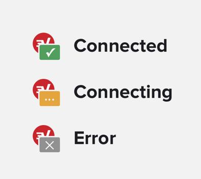 Browser extensie pictogrammen die aangeven of ExpressVPN kan verbinden.