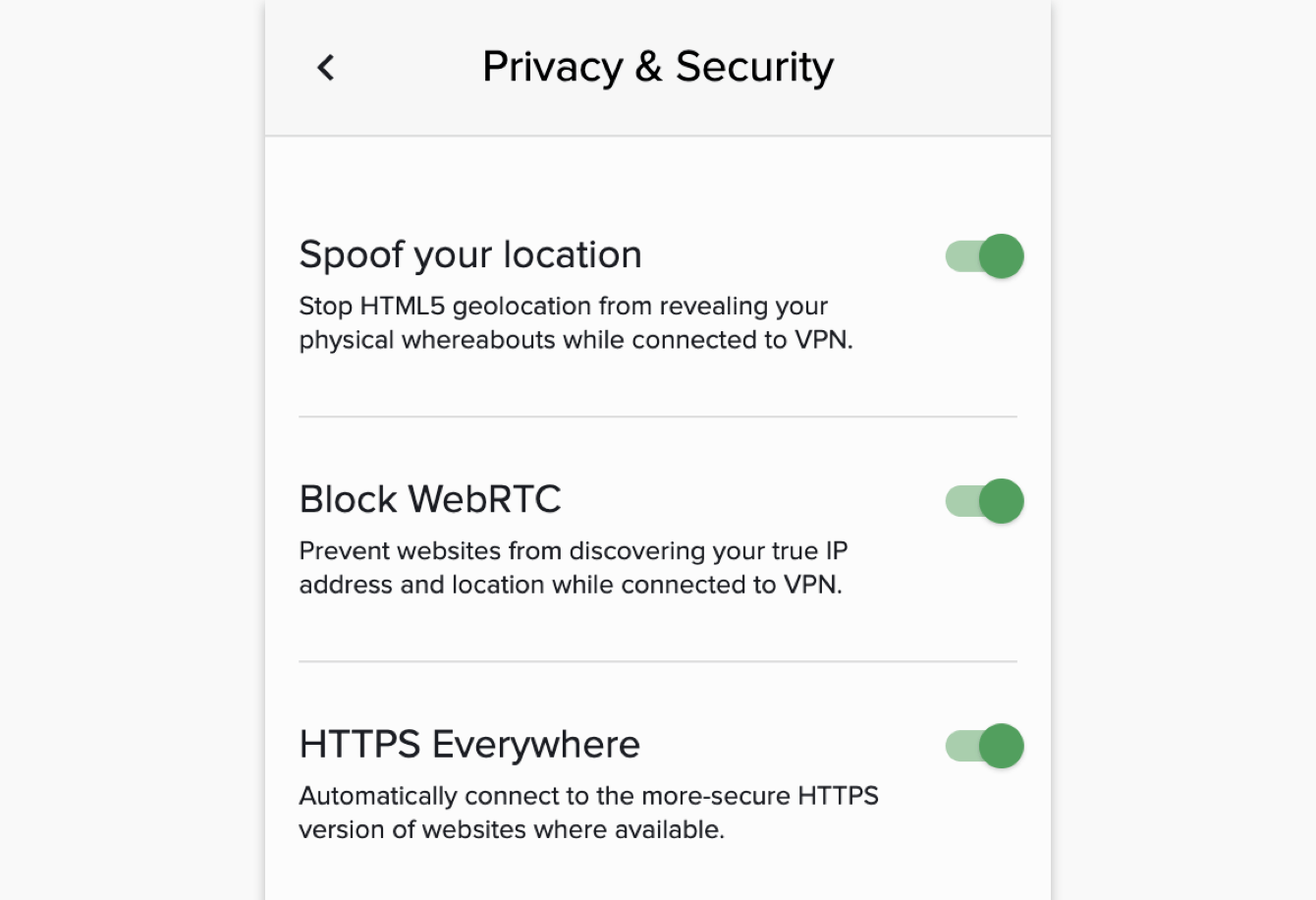 Privacy and security features of the ExpressVPN browser extension.