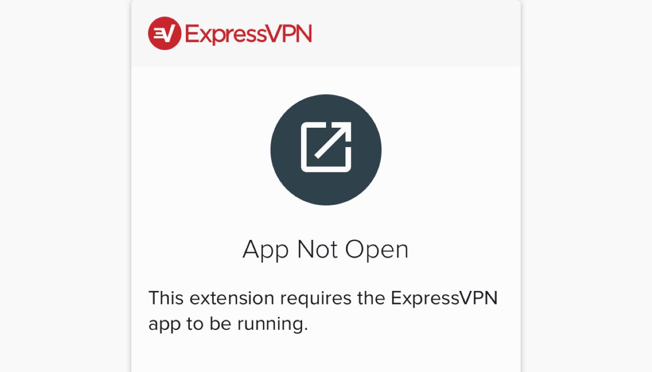 A screen that shows the ExpressVPN app is not open.