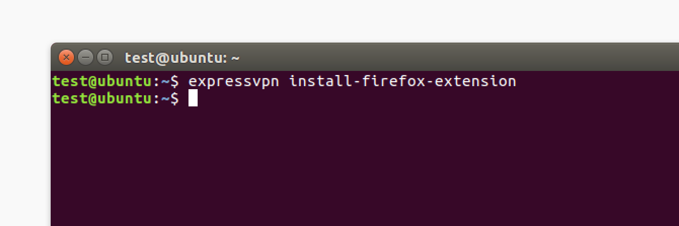 Run Linux command to install the ExpressVPN browser extension.