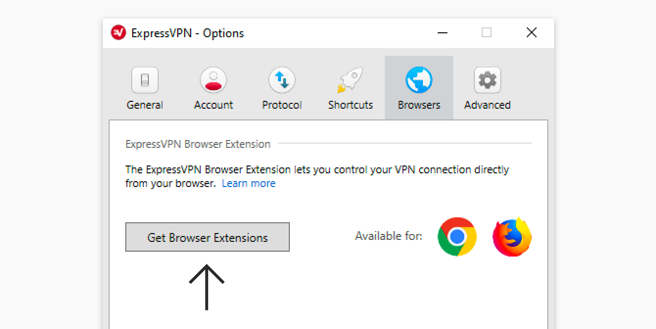 "Click ""Get Browser Extensions"" in Windows."