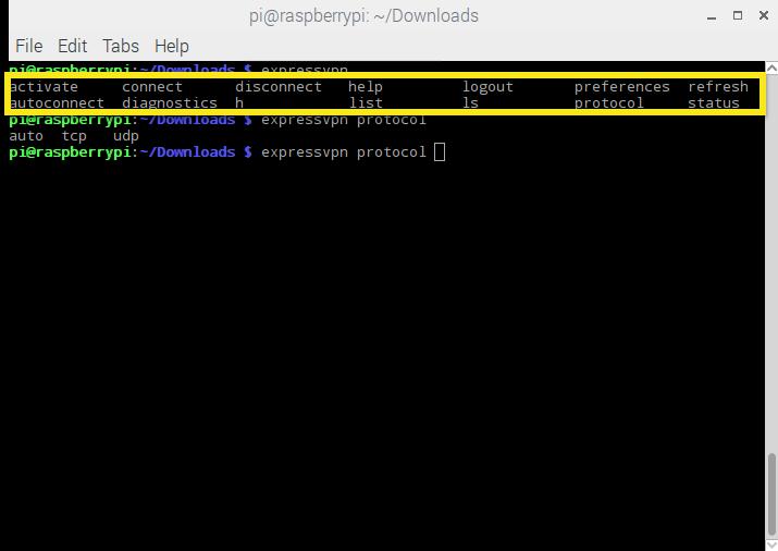 Raspbian ExpressVPN Tab