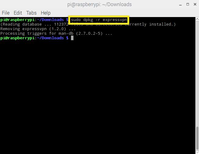 Raspbian ExpressVPN deinstallieren