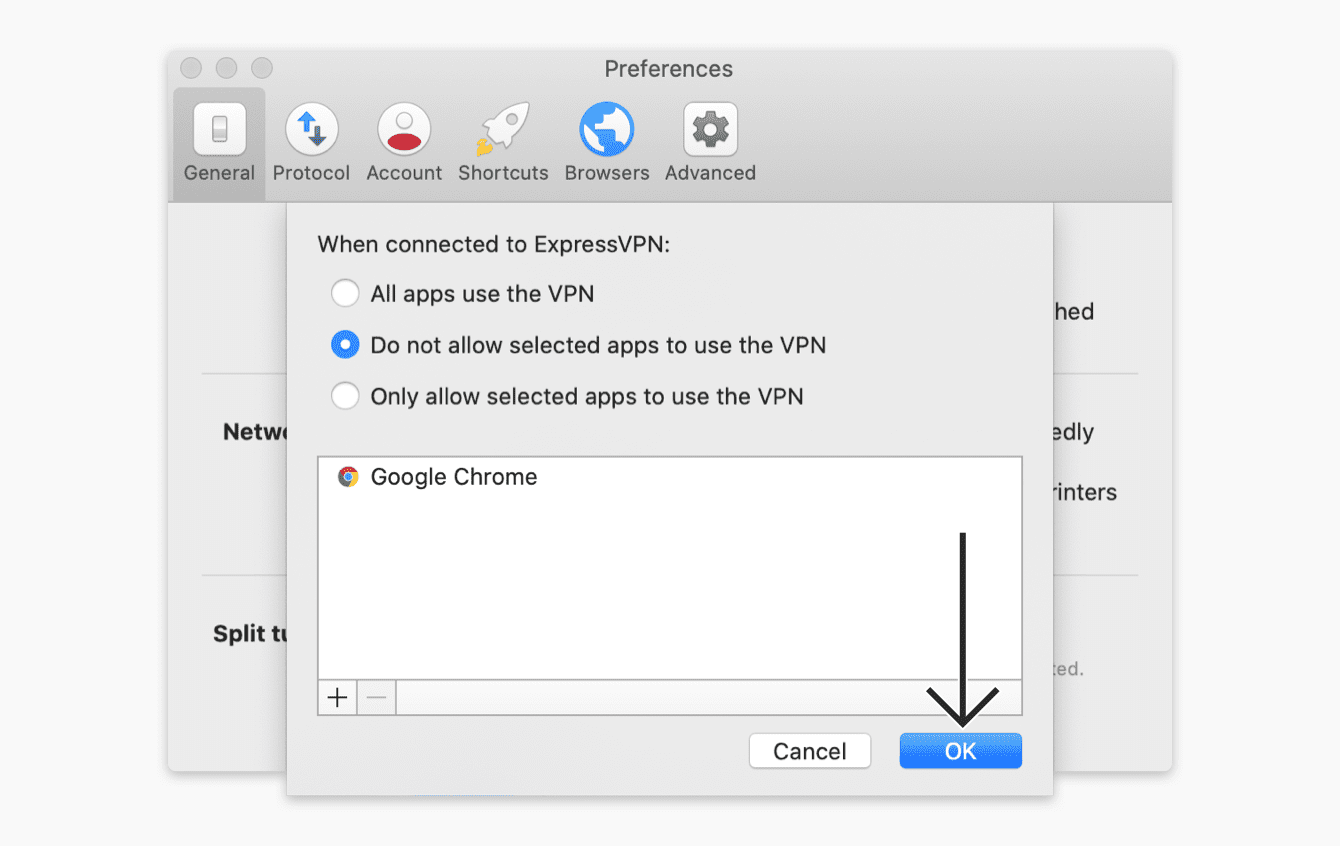 "Select ""Do not allow selected apps to use the VPN"", then click ""OK."""