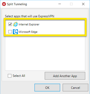 select which apps will use split tunneling
