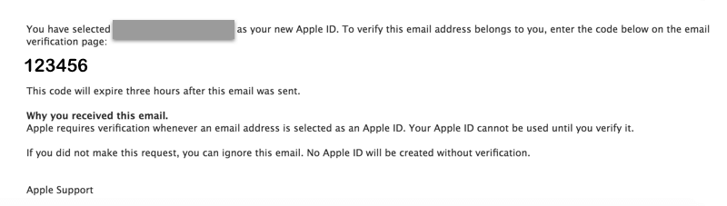 apple verification code