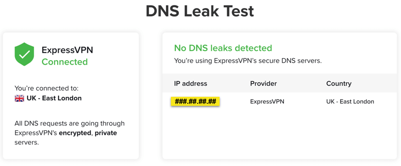 The ExpressVPN DNS Leak Test page.