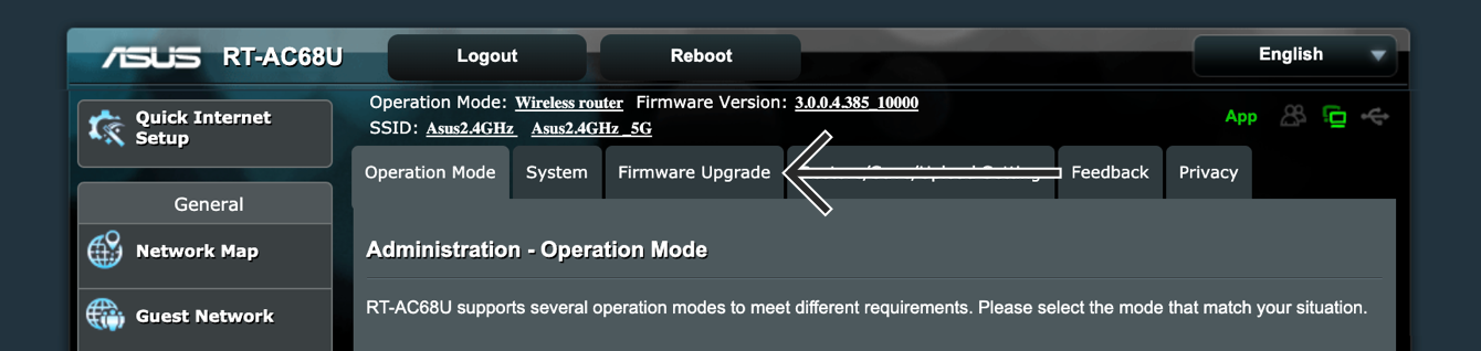 "Click ""Firmware Upgrade."""