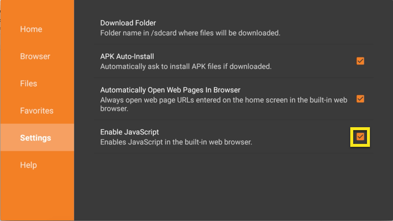 Downloader settings screen with Enable JavaScript box highlighted.